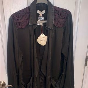 Knox Rose Open Front Jacket with lace detail
